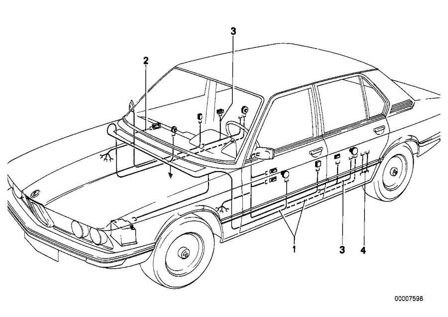 BMW 633CSi Extension cable. DOOR, FRONT, Sets