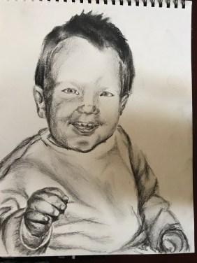 Pencil and charcoal drawing, Elijah's First Christmas, November 2017