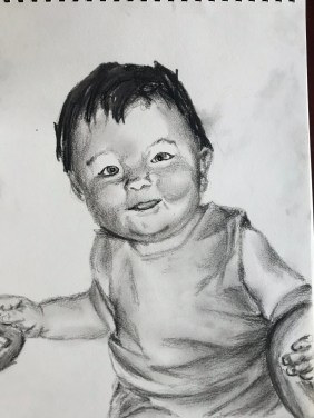 Pencil and charcoal drawing, Charlie's First Christmas, December 2017