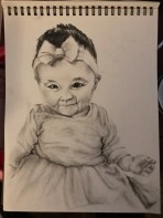 Pencil and charcoal drawing, Addison's First Christmas, December 2017