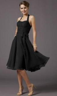 Chiffon Halter Style Short Bridesmaid dress.