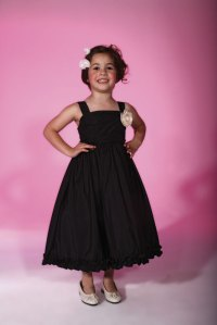 Black Flower Girl Tea Length Dress.