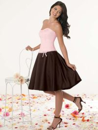 Strapless two tone dress | pink brown bridesmaid dresses.