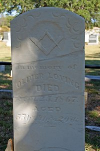 In memory of Oliver Loving, Died Sept. 25, 1867, Aged 55 y's, 9 m's, 20 d's