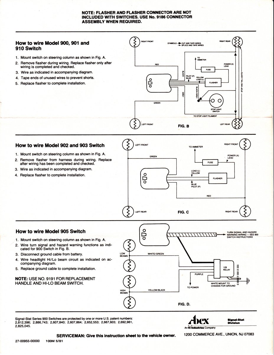 signal stat 900 7 wiring diagram 2005 ford f150 headlight switch wire turn schematic hot rods question yankee 734 737