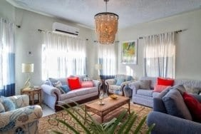 Living room at Villa Serenity by the sea in Ocho Rios Jamaica