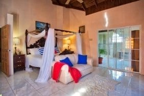 Luxurious master bedroom at villas in Jamaica