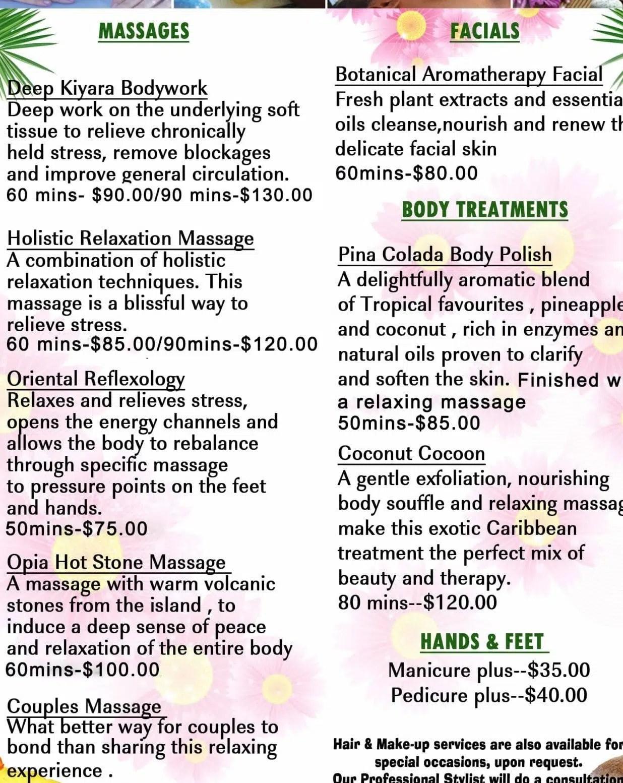 Jamaica villa offer spa services