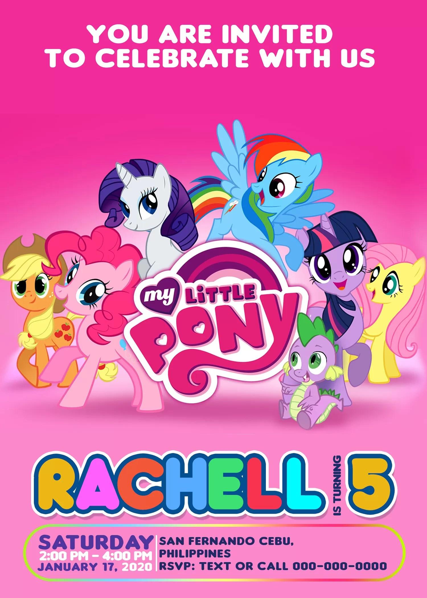 my little pony birthday invitation 4 x 6 or 5 x 7 printable jamakodesigns