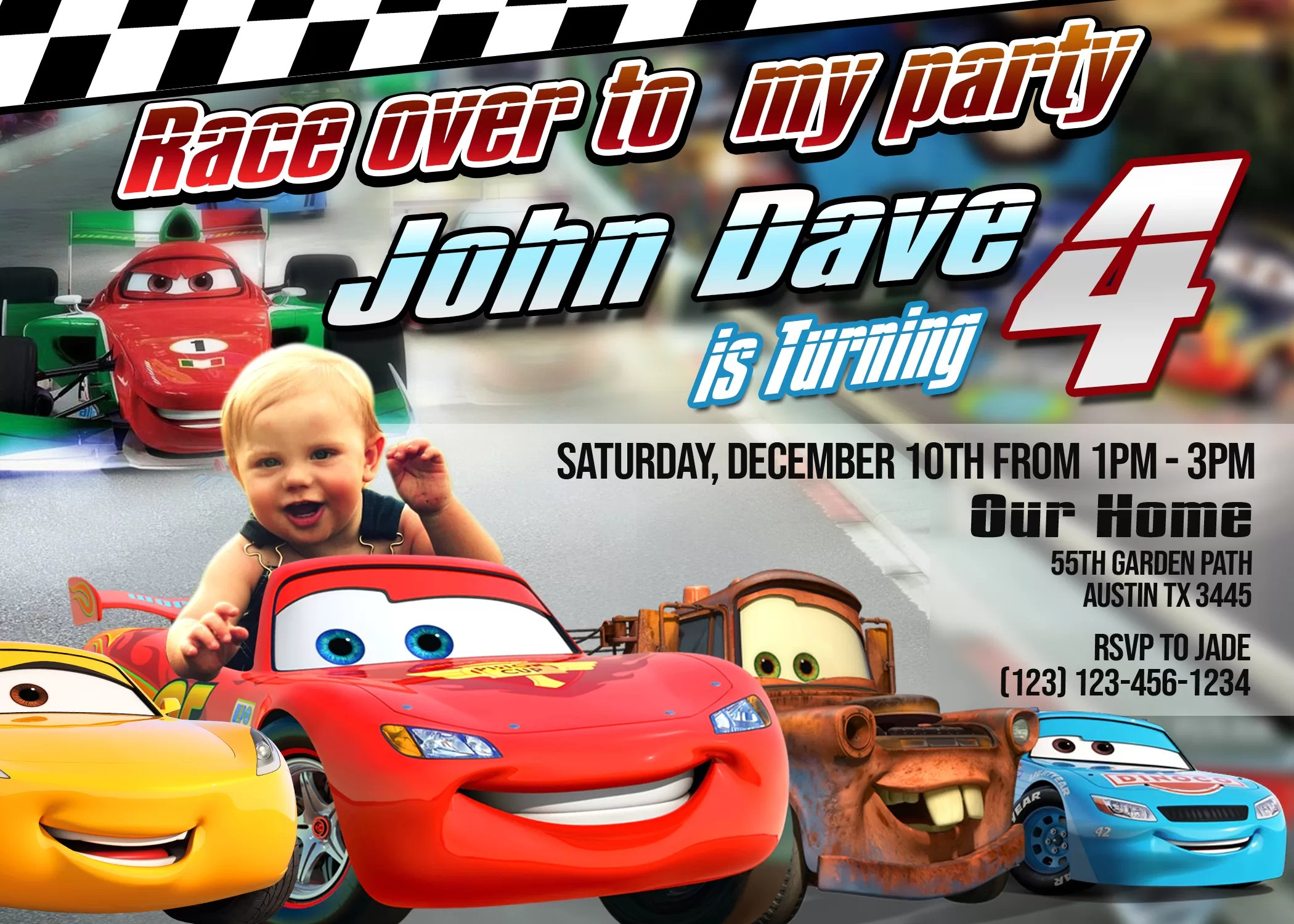 cars birthday invitation card lightning mcqueen party