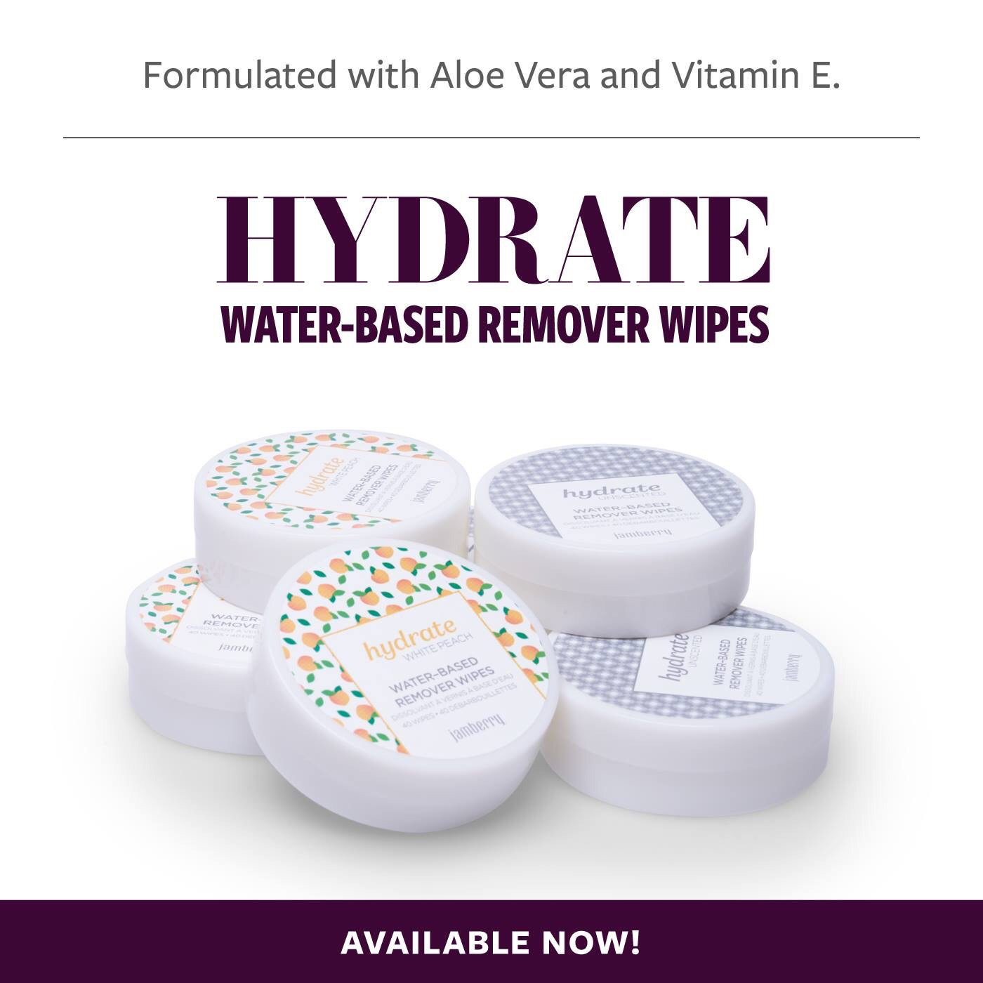 Hydrate Water-Based Remover Wipes  – Available Now