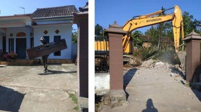 Foto viral terkait pembongkaran rumah.