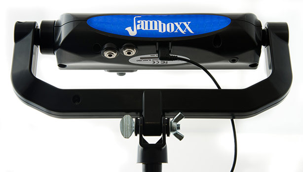 View of a mounted Jamboxx for hands free capabilities