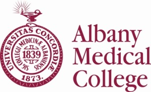 The logo of Albany Medical College in Albany NY