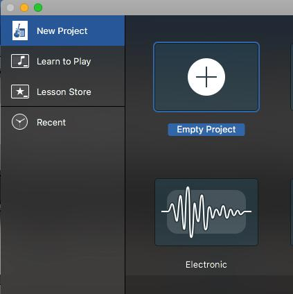 create a new project in GarageBand