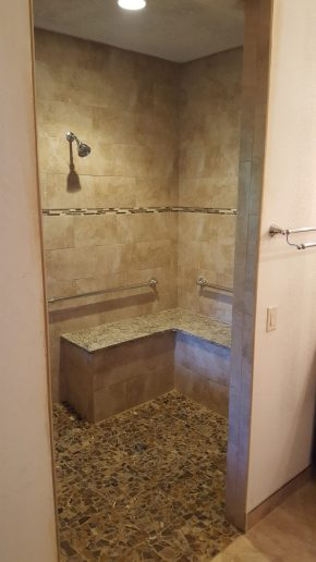 doorless shower bathroom remodel