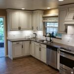 Kitchen remodel with wood look tile floors