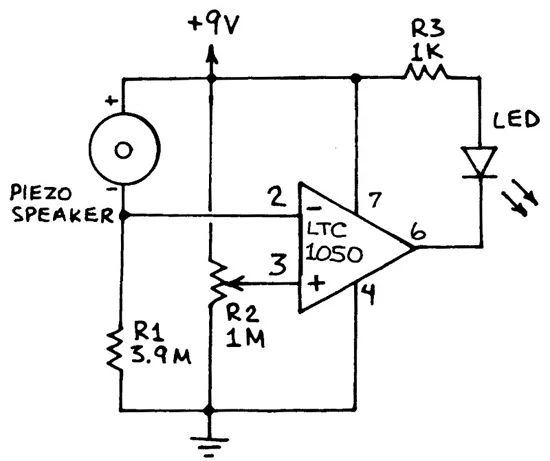 circuitlab piezo knock sensor opamp