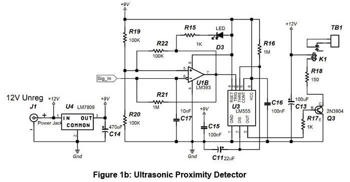 monostable ultrasonic receiver circuit