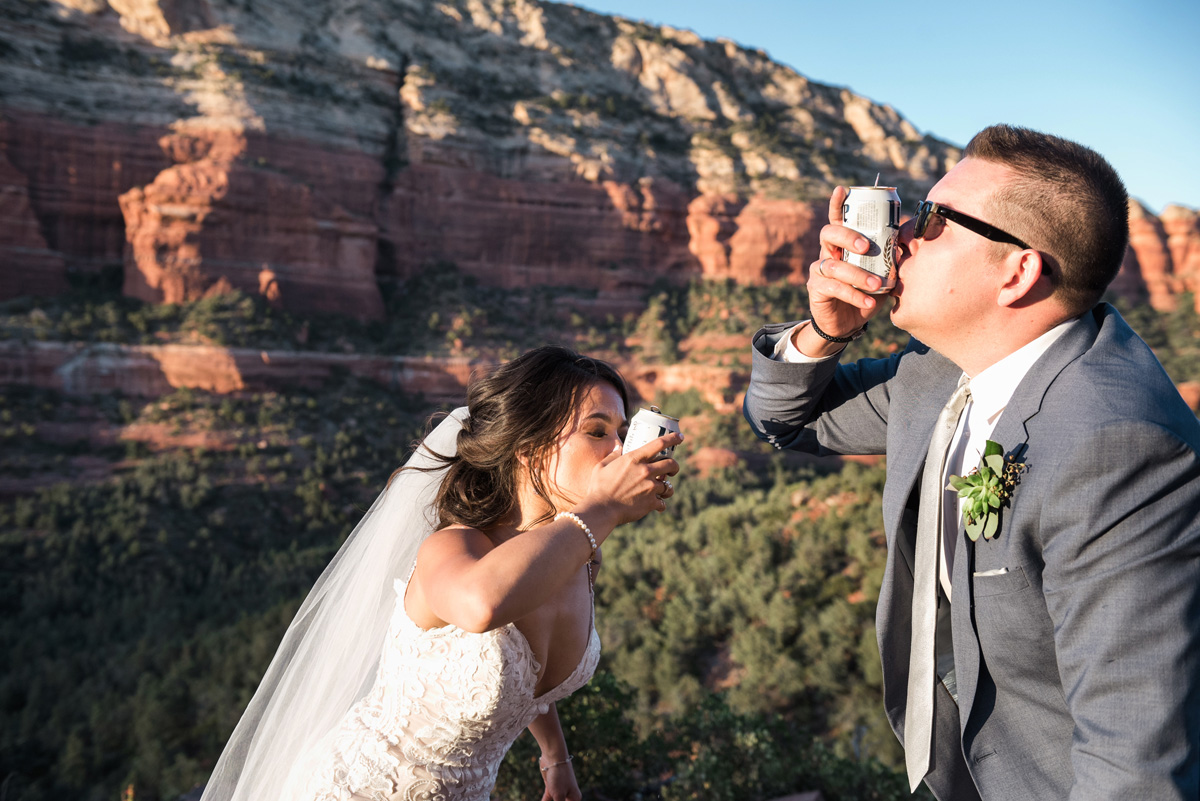 sedona bride and groom shotgun beer