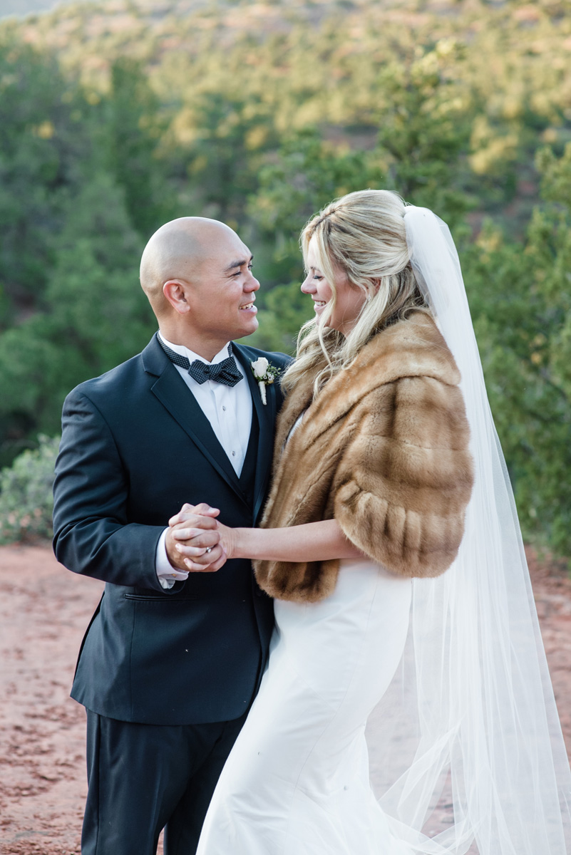 sedona wedding photography bride winter fur