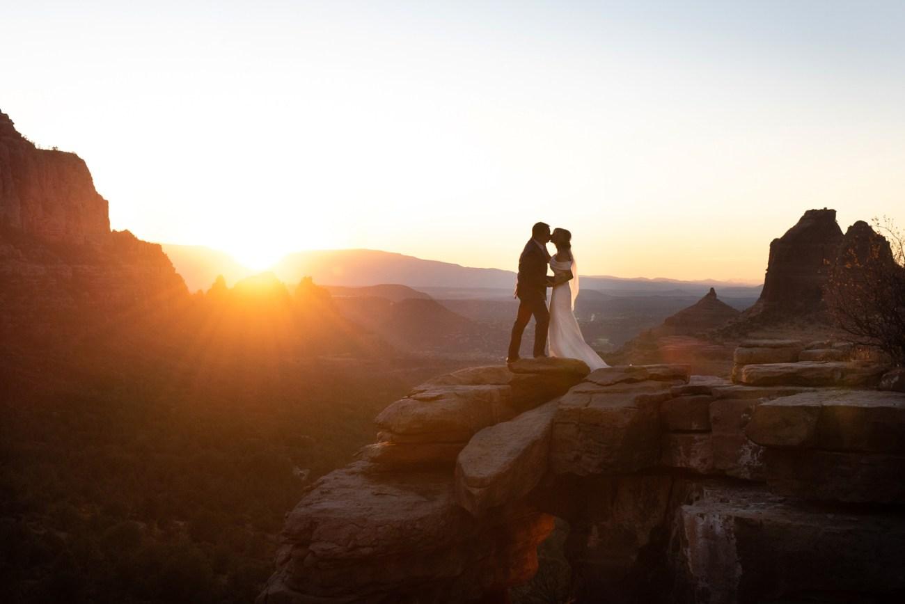 sunset wedding photos at merry go round rock