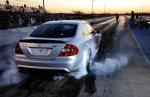 Mercedes AMG doing burnout at drag strip