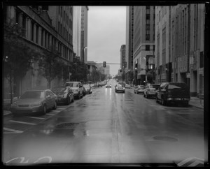 Downtown Oklahoma City after a rain storm. Shot on Ilford HP5 film with Toyo 4x5 view camera.
