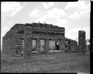 Sedan, Oklahoma abandoned rock gasoline station.