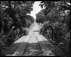 Old county bridge on a dirt road in Logan County, Oklahoma