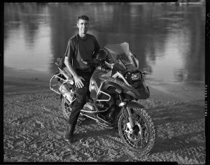 Todd Hamm on his BMW R1200 GS Adventure motorcycle at Bill Dragoo's adventure training camp
