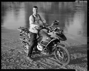Portrait of Tarren Shaw on his BMW R1200GS Adventure motorcycle at Bill Dragoo's adventure rider training in Lexington, Oklahoma.