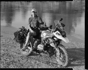 Cindy Kenyon on a BMW R1200GS motorcycle