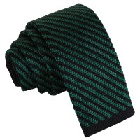 Black and Green Diagonal Stripe Knitted Skinny Tie - James ...