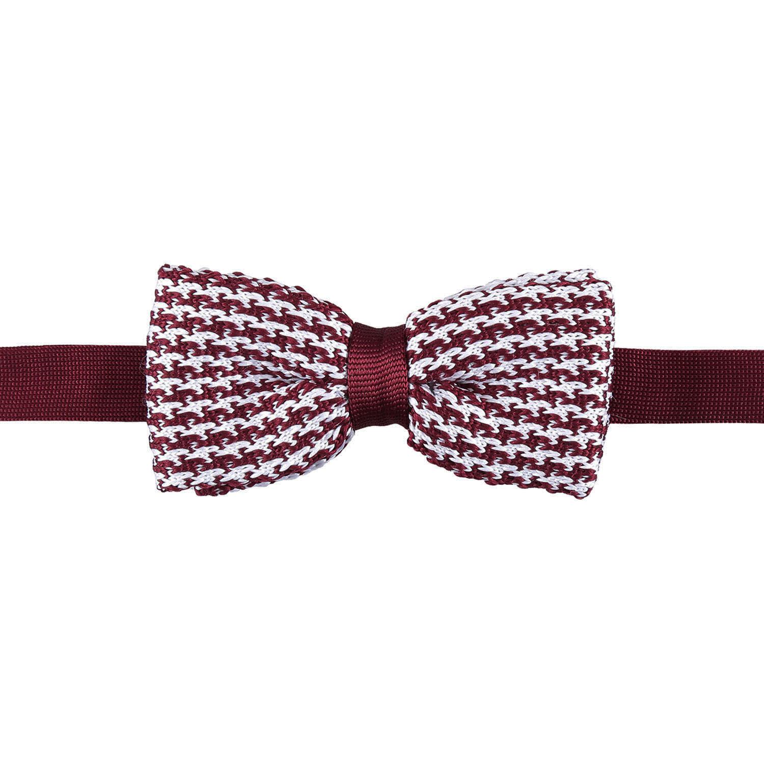 White and Burgundy Houndstooth Knitted PreTied Thistle Bow Tie  James Alexander