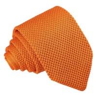 Tangerine Knitted Slim Tie - James Alexander