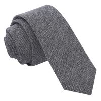 Charcoal Chambray Cotton Skinny Tie - James Alexander
