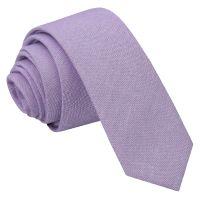 Lilac Chambray Cotton Skinny Tie - James Alexander