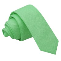 Mint Green Chambray Cotton Skinny Tie - James Alexander