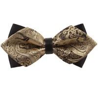 Gold Paisley Pre-Tied Diamond Tip Bow Tie - James Alexander