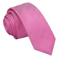 Fuchsia Pink Herringbone Silk Skinny Tie - James Alexander