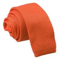 Burnt Orange Knitted Skinny Tie - James Alexander