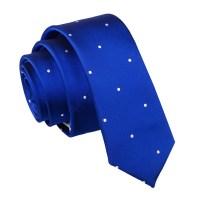 Royal Blue Pin Dot Skinny Tie - James Alexander