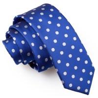 Royal Blue Polka Dot Skinny Tie - James Alexander