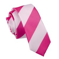 Hot Pink & White Striped Skinny Tie - James Alexander