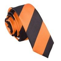 Orange & Black Striped Skinny Tie - James Alexander