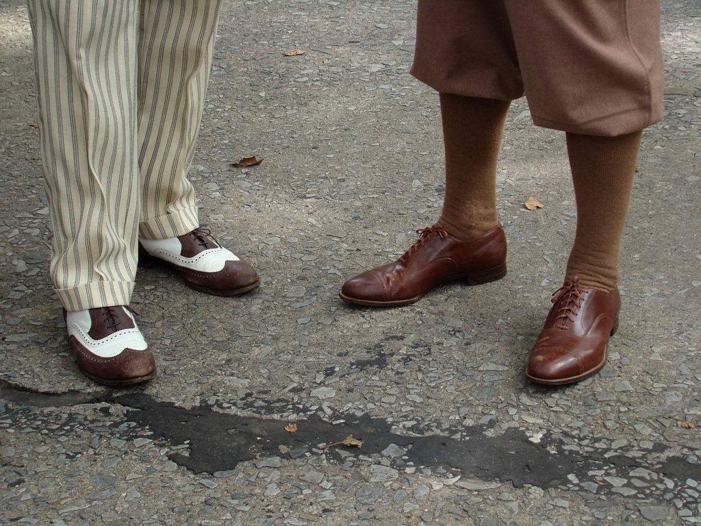 Saddle shoes and striped trousers meet brown oxfords and plus fours in Jazzy Shoes by istolethetv on Flickr
