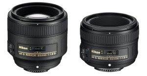 50mm and 85mm lenses