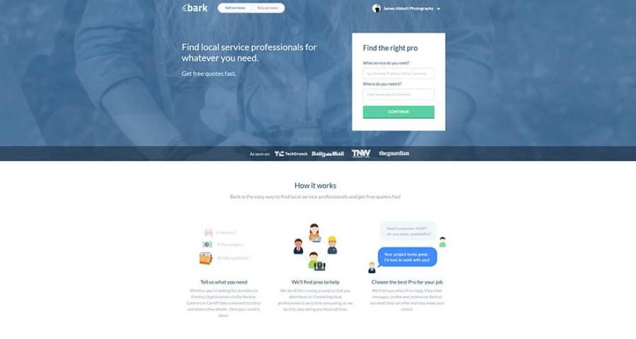 Bark.com homepage