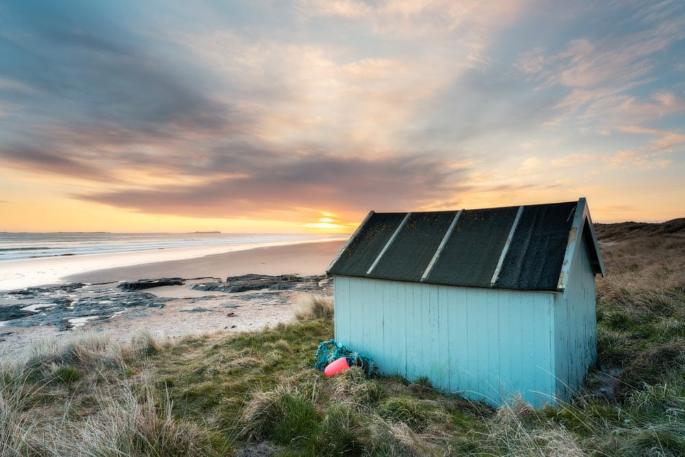 Fisherman's hut on Bamburgh Beach shot with the Sony FE 20mm f/1.8
